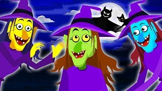 Halloween Songs - Three Little Witches & Funny Skeletons Finger Family