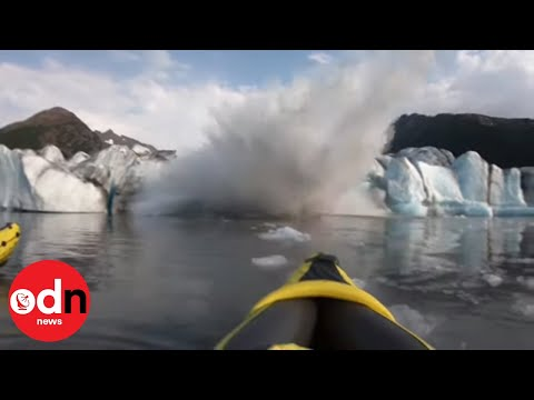 Giant Wave Engulfs Kayakers After Glacier Collapse