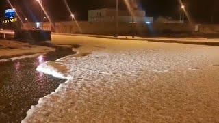 أكوام رهيبة من الثلوج البَردية! عاصفة بردية وسط السعودية ، القصيم