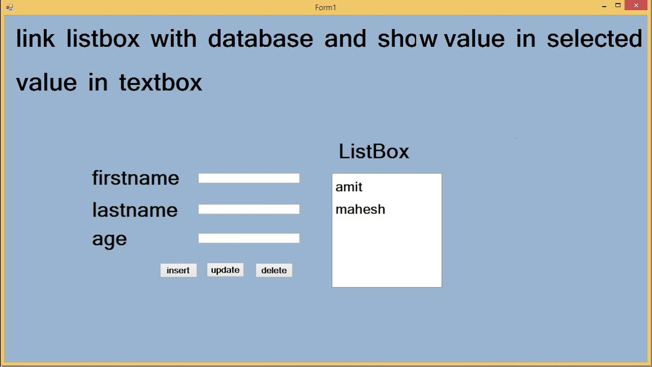 link listbox with database and show value in textbox if select listbox