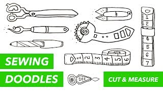 SEWING DOODLES • Cutting and measuring • How to draw measuring tape, scissors and cutting tools