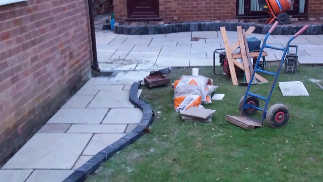 Indian Stone Patio With Curved Raised Step Youtube