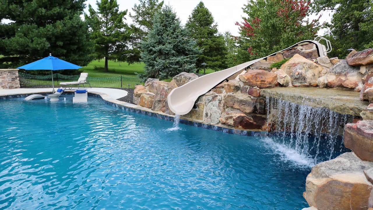 Free Form Gunite Swimming Pool with slide in Kansas City, MO