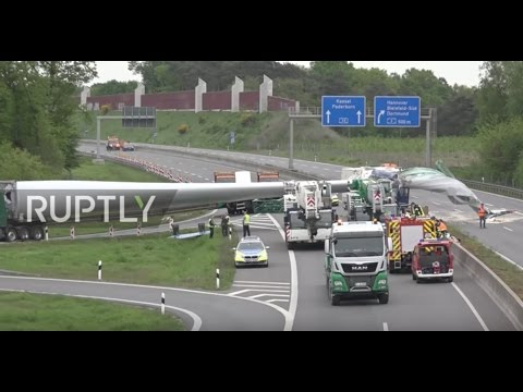 Germany: Wind turbine blade flies crushing lorry on the autobahn
