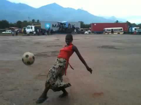 Tanzanian woman displaying great football skills