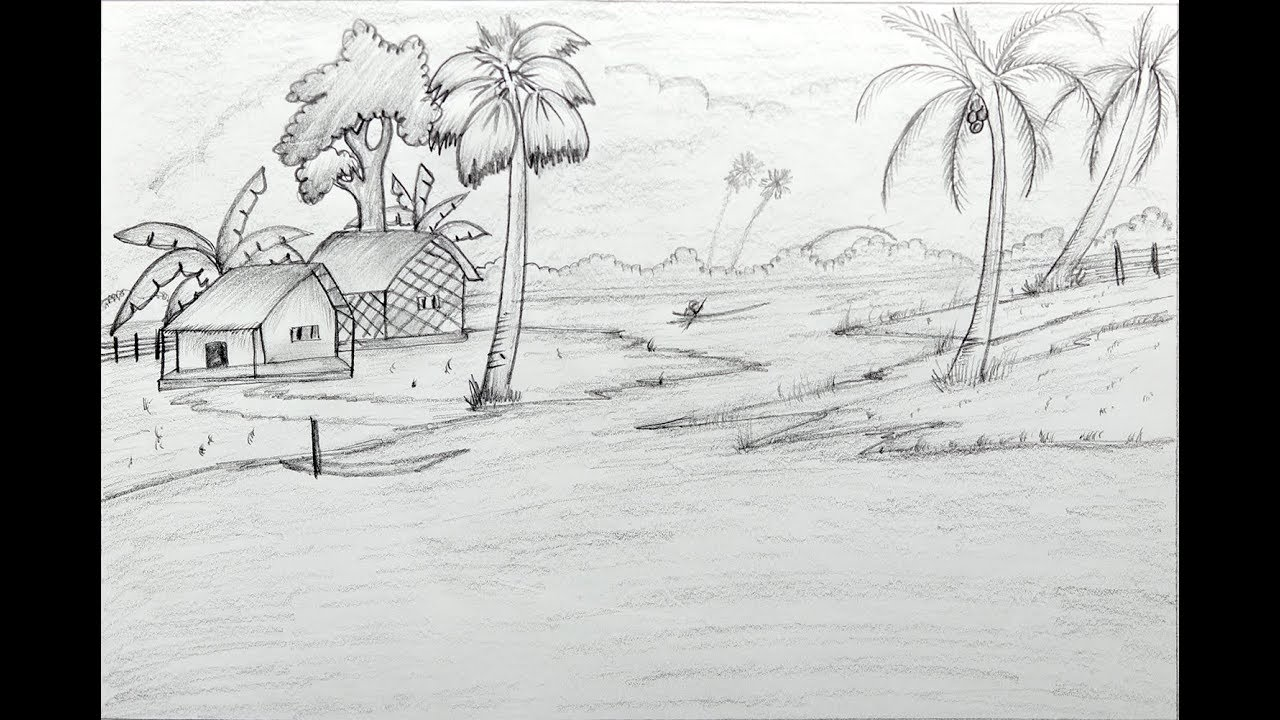 How to draw a village scenery with pencil step by step very easy scenery drawing tutorial