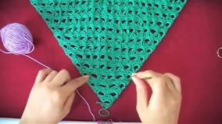 """Πλεξη """"Σκουποξυλο"""" σε Τριγωνο με Βελονακι/ Triangle Broomstick Lace Crochet (english subs)"""