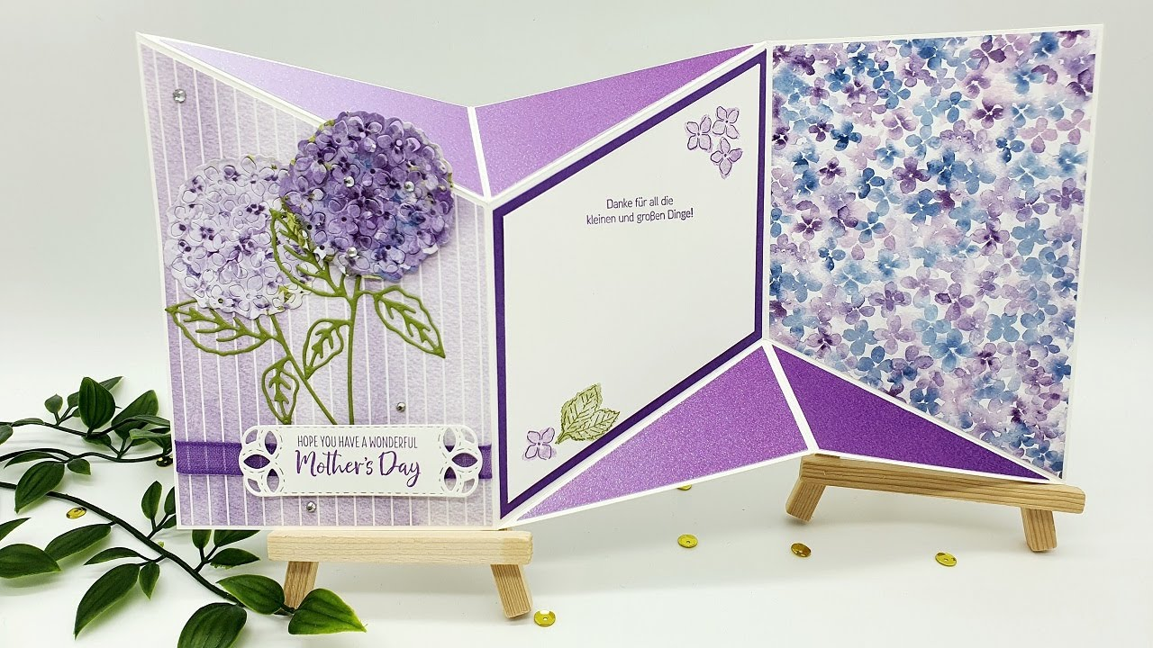 Anleitung: Muttertagskarte mit besonderer Faltung │Herrliche Hortensie │Stampin' Up!®