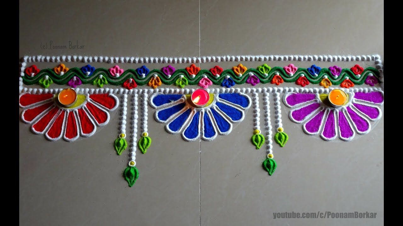 Easy border rangoli design for Diwali | Innovative rangoli designs on