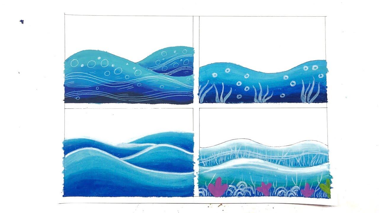 4 Cara Mewarnai Gradasi Laut Dengan Crayon Oil Pastel