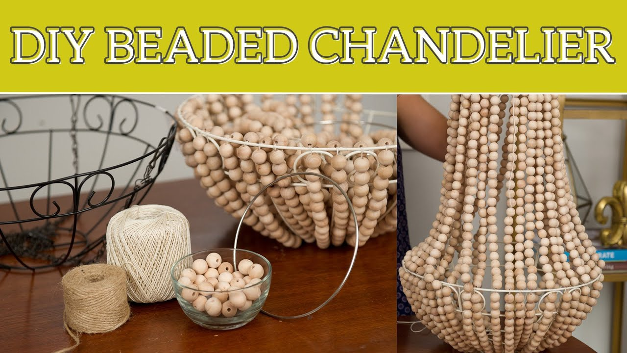 Diy home decor beaded chandelier youtube for How to make home decorations