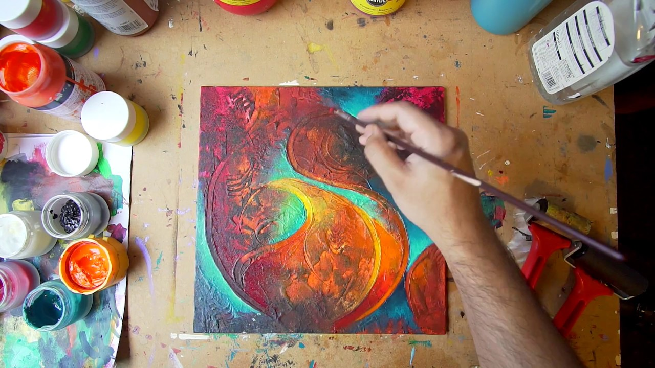 Abstract Painting Technique Fine Art Demo Acrylic Art Series Video 6