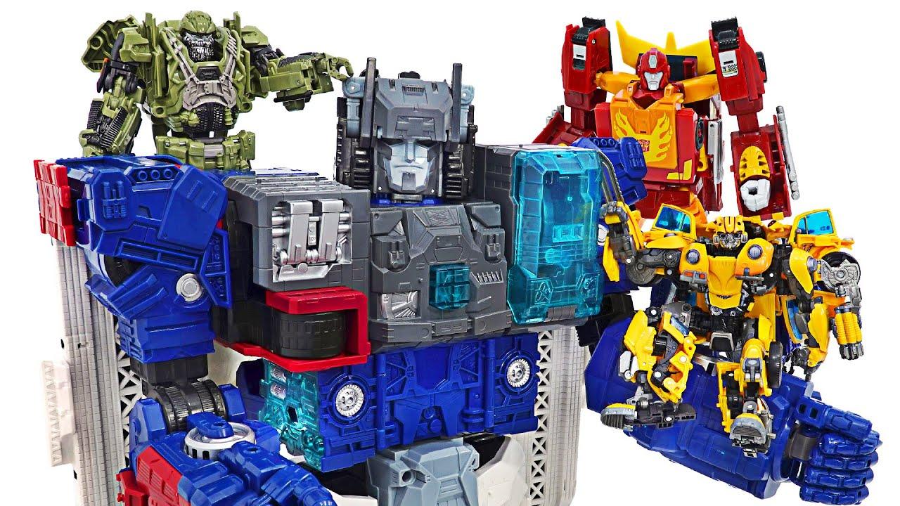 Transformadores ultra gigantes Generaciones Titan Class Fortress Maximus y Bumblebee!
