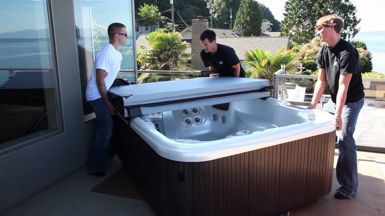 Olympic Hot Tubs, HotSpring Spa upper deck install - YouTube