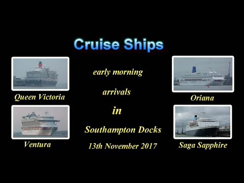 4 Cruise Ships early morning arrivals Southampton Docks 13/11/17