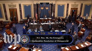 Senate passes disapproval resolution of Trump's national emergency