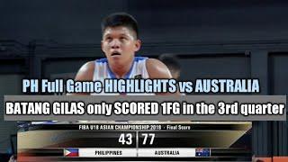 BATANG GILAS Full Game HIGHLIGHTS vs AUSTRALIA Semi Finals. U18 Asian Championship