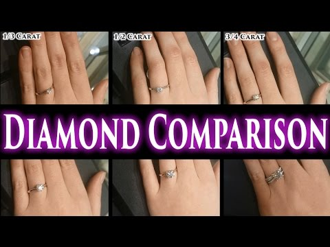 1 Carat Diamond Ring on Finger Hand. 2 Ct Size Comparison 1/2 1.5 3 0.5  Price Engagement Rings