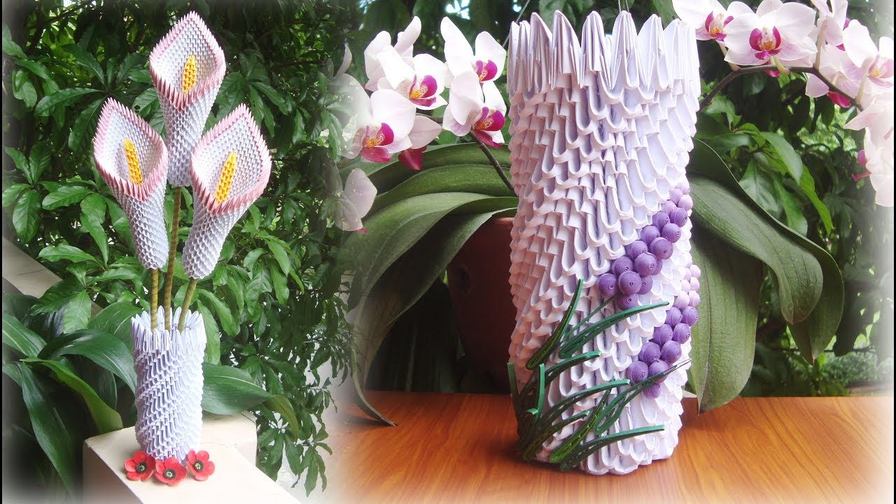 How To Make 3d Origami Vase V8 C 243 Mo Hacer Florero De Origami 3d Youtube