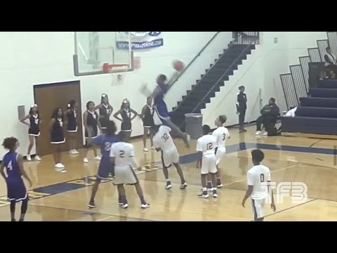 """INSANE DUNK! High School Kid JUMPS OVER 6'7"""" Defender in GAME!"""