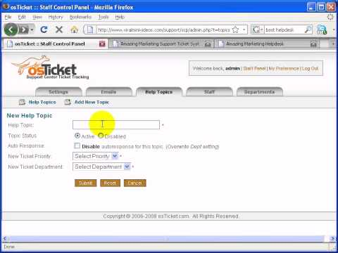 5) How To Create Help Topics, Staff, Departments In OsTicket?