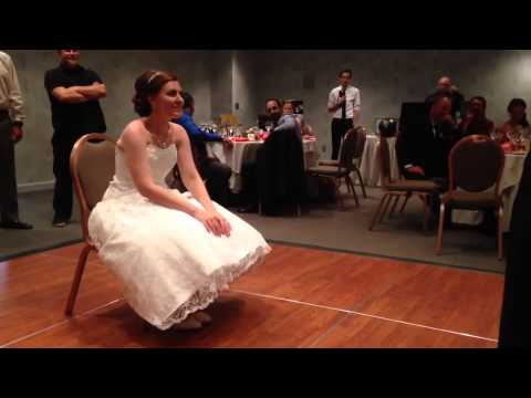 Funny and aggressive garter removal at wedding