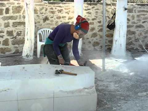 Beata Rostas sculptor working in Greece, Crete in 2010