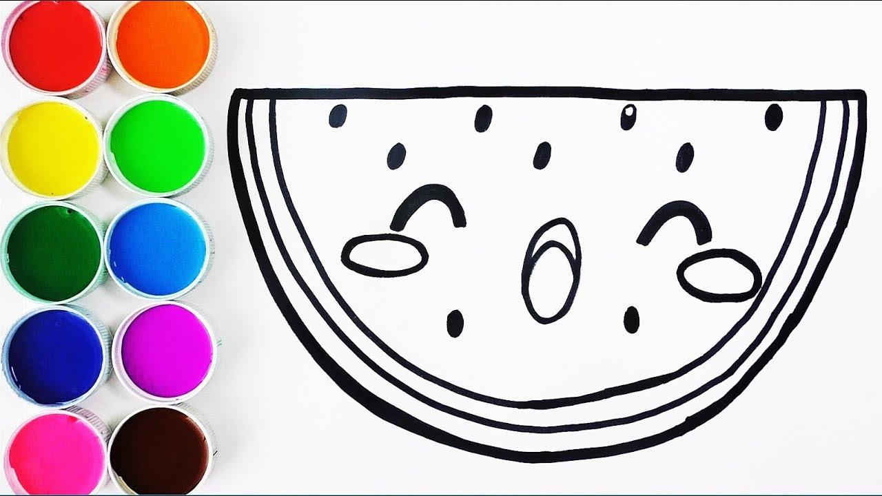 Como Dibujar Y Pintar Sandia Kawaii Dibujos Para Ninos Learn