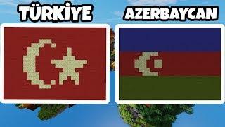 TÜRK BAYRAĞI ve AZERBAYCAN BAYRAĞI YAPTIK  Minecraft Bed Wars