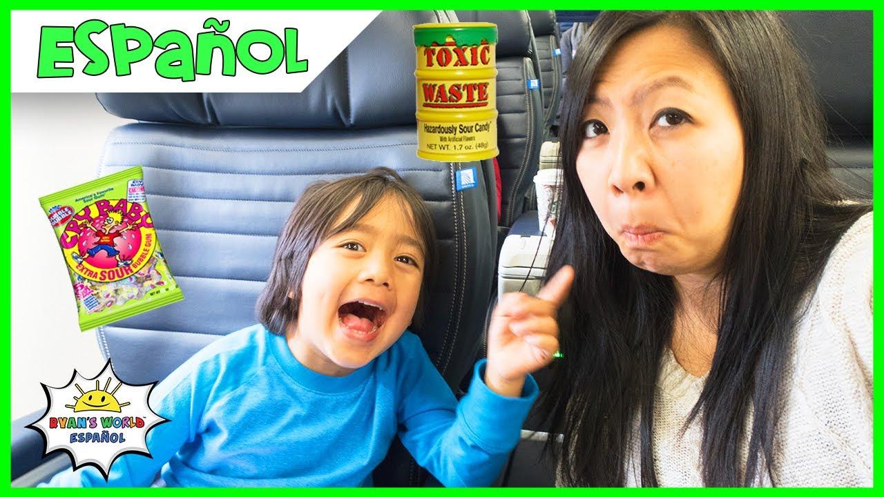 Super Sour Candy Challenge con Ryan en el avión y Rock Paper Scissor