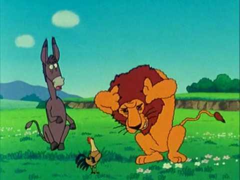 45   El asno, el gallo y el león   Fábulas de Esopo