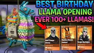 BEST Birthday Llama Opening Ever! 100+ Llamas, Insane Loot (Fortnite Save The World