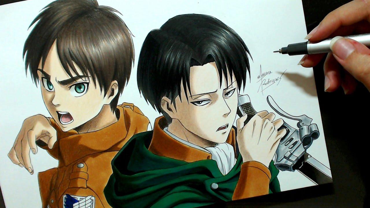 Speed Drawing Eren And Levi Shingeki No Kyojin Youtube