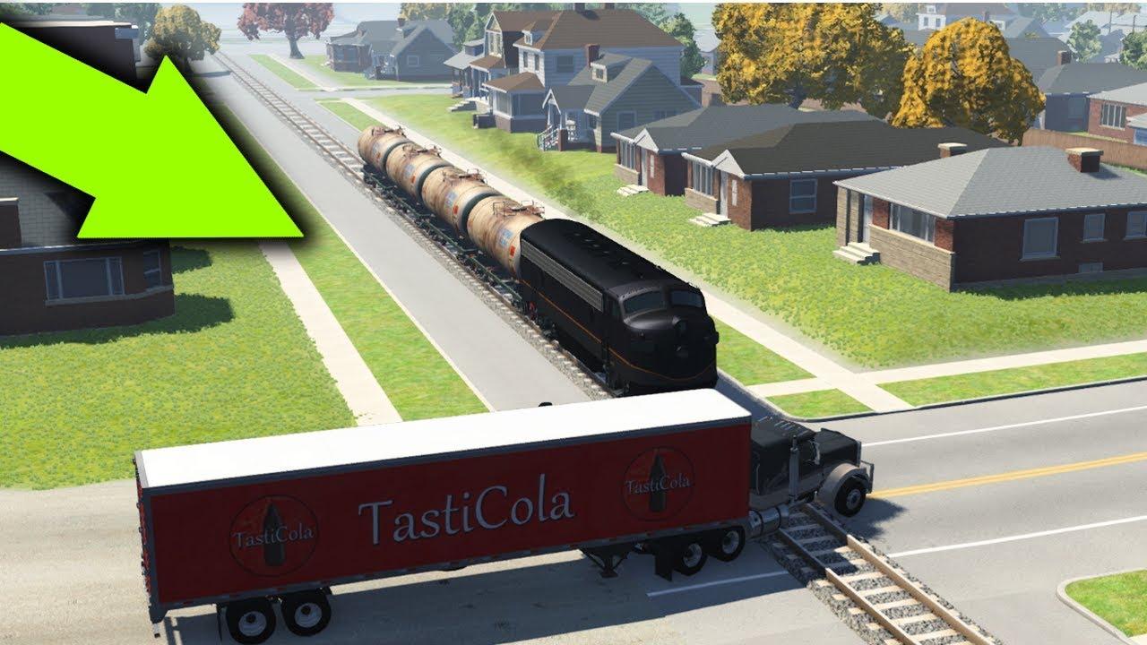 Stuck At Rails (Railroad Crossing TRAIN Crashes) - BeamNG Drive