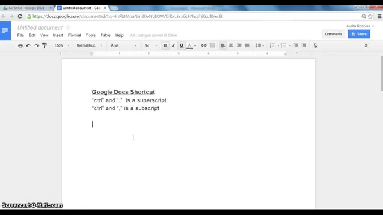 Subscripts and Superscripts in Google Docs