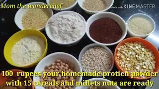 Low cost protein powder with 15 millets, cereals and nuts/ Make porridge with curds during summer