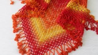 """Бактус крючком из кауни"""" Радуга""""( завершение) вязание каймы(crochet shawl) (Шаль #11)"""