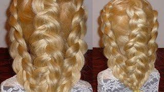 Красивая причёска на средние/ длинные волосы. Плетение волос/кос мастер класс