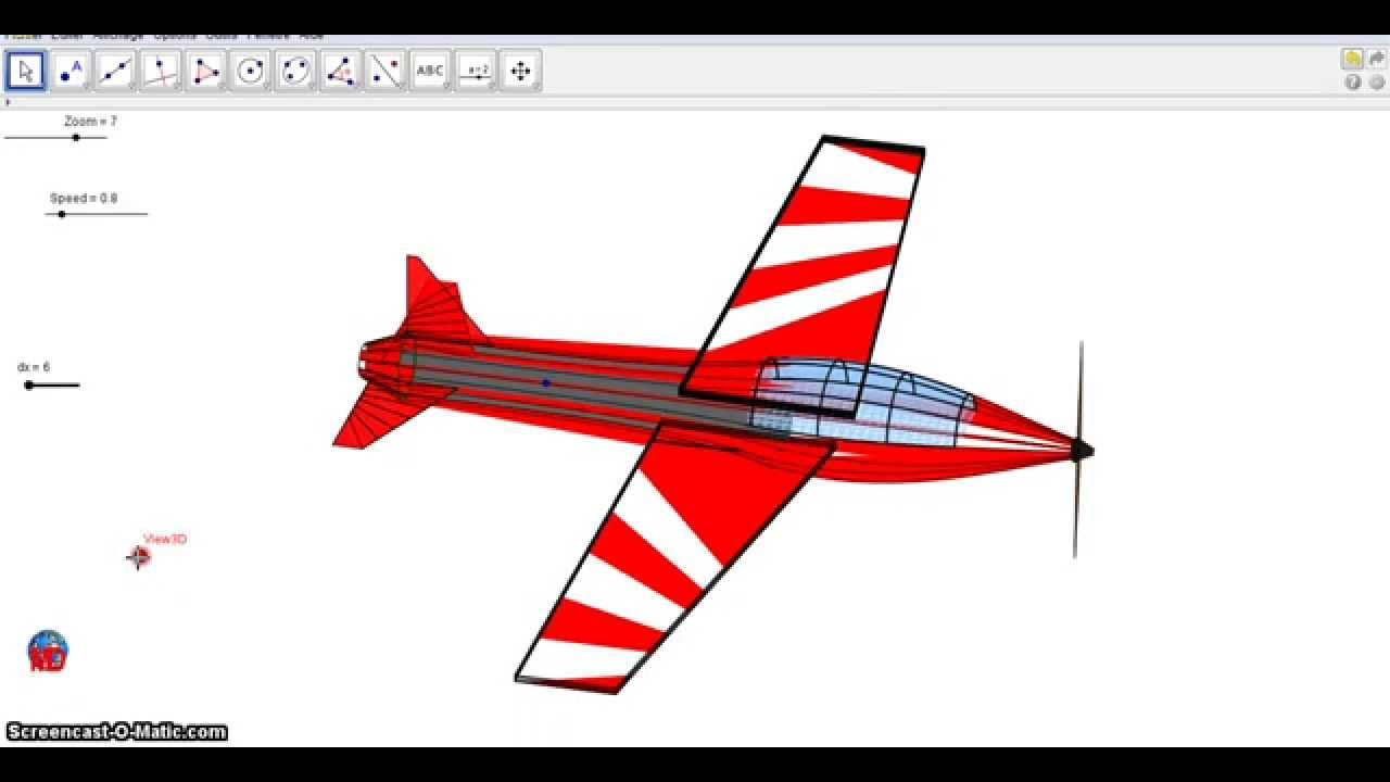 The Red Airplane(3D with Geogebra 4.25 in java)