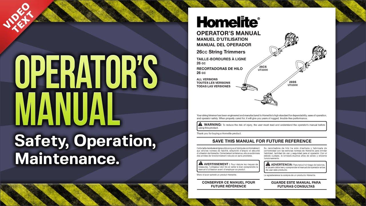 Homelite Weed Wacker Owners Manual Gallery. Operator's Manual Homelite Gas String Trimmer 26cs 26ss Ut32600. Wiring. Homelite Sx 135 Parts Diagram At Scoala.co