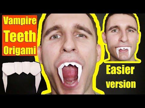 Halloween Origami Vampire Teeth by Yakomoga - Yakomoga Easy Origami tutorial