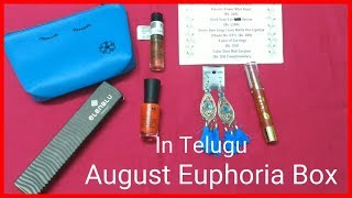 What's in August Euphoria Box? Unboxing & Review in Telugu | Ruby's Lovely World Unboxing videos