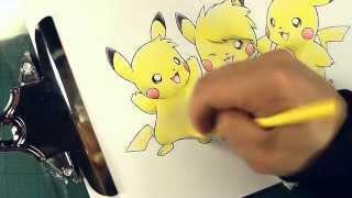 Sparky, Birdychu, Pikachu Crayola Illustration