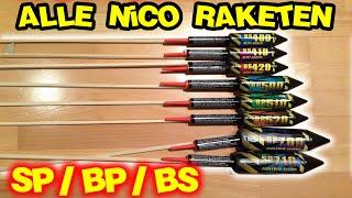 Alle Nico Raketen | Von BS 400 - SP 710 | BS/BP/SP Raketen