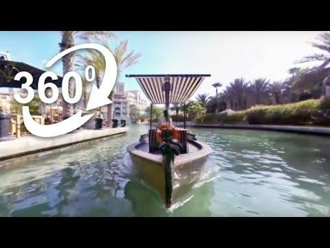 (4K) 360: Abra boat on the Madinat Jumeirah lagoon - Visit Dubai