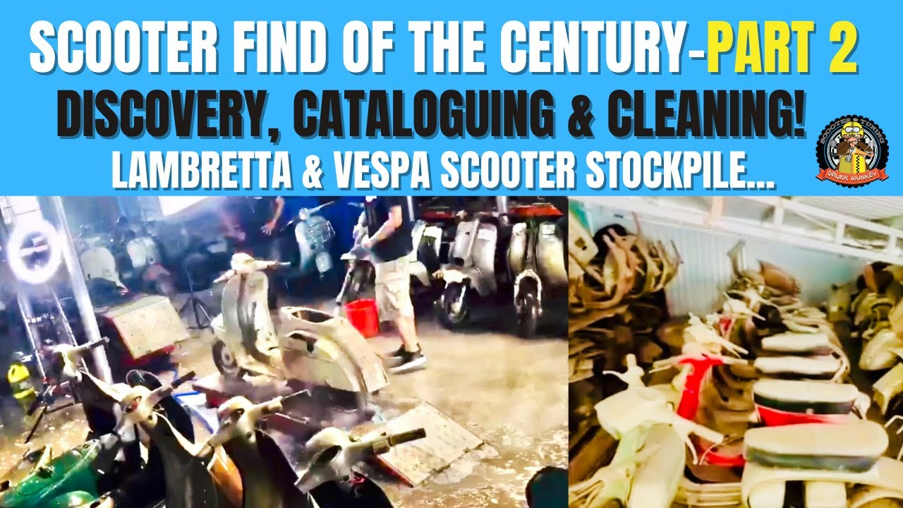 Scooter find of the Century Part 2 – Discovery, Cataloguing & Cleaning Lambretta & Vespa stockpile.