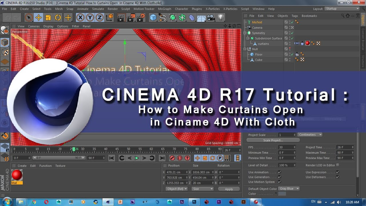 cinema 4d r17 tutorial how to make curtains open in ciname 4d with cloth youtube. Black Bedroom Furniture Sets. Home Design Ideas