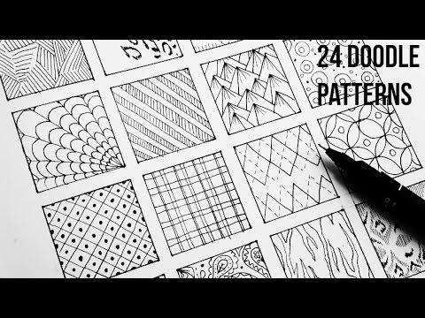 24 Doodle Patterns Part 2 | Art Tutorial Speed-Up Art Doodle art ...