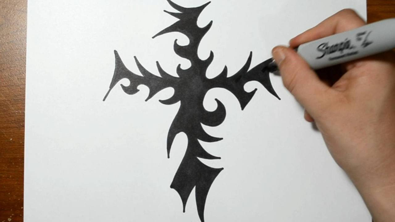 It's just an image of Selective Tribal Cross Drawing