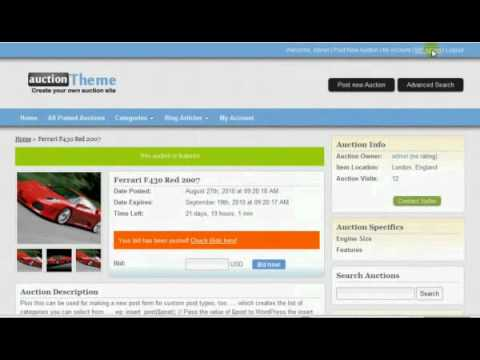 Wordpress Auction Theme The Ultimate Auction Theme To Make Auction Website Youtube